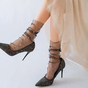 Female Star Moon Tulle Lace Dress Sock